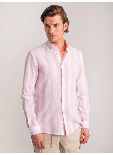 Dufy Pembe Çızgılı Keten Nefes Alabılen Erkek Gömlek - Slım Fıt Pembe